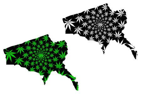 Tete Province (Provinces of Mozambique, Republic of Mozambique) map is designed cannabis leaf green and black, Tete map made of marijuana (marihuana,THC) foliage
