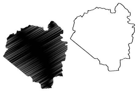 Aibonito Municipal (Commonwealth of Puerto Rico, Porto Rico, PR, Unincorporated territories of the United States) map vector illustration, scribble sketch Aibonito map Illustration