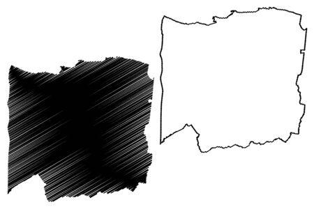 Arecibo Municipal (Commonwealth of Puerto Rico, Porto Rico, PR, Unincorporated territories of the United States) map vector illustration, scribble sketch Arecibo map