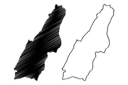 Las Piedras municipality (Commonwealth of Puerto Rico, Porto Rico, PR, Unincorporated territories of the United States) map vector illustration, scribble sketch Las Piedras map