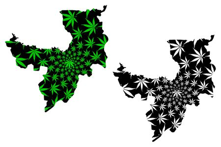 Ryanggang Province (Democratic Peoples Republic of Korea, DPRK, DPR Korea) map is designed cannabis leaf green and black, Ryanggangdo map made of marijuana (marihuana,THC) foliage