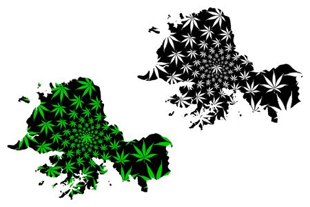 South Hwanghae Province (Democratic Peoples Republic of Korea, DPRK, DPR Korea) map is designed cannabis leaf green and black, Hwanghaenamdo map made of marijuana (marihuana,THC) foliage
