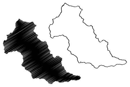 Patillas municipality (Commonwealth of Puerto Rico, Porto Rico, PR, Unincorporated territories of the United States) map vector illustration, scribble sketch Patillas map