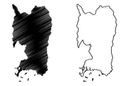 Penuelas municipality (Commonwealth of Puerto Rico, Porto Rico, PR, Unincorporated territories of the United States) map vector illustration, scribble sketch Penuelas map