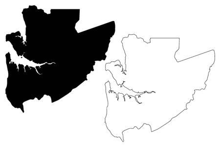 Estuaire Province (Subdivisions of Gabon, Gabonese Republic) map vector illustration, scribble sketch Estuaire map