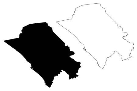 Nyanga Province (Subdivisions of Gabon, Gabonese Republic) map vector illustration, scribble sketch Nyanga map