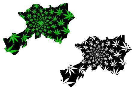 Dhamar Governorate (Governorates of Yemen, Republic of Yemen) map is designed cannabis leaf green and black, Dhamar map made of marijuana (marihuana,THC) foliage