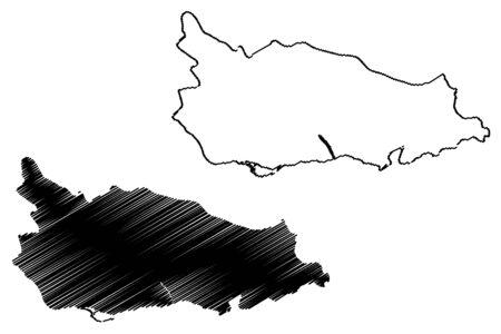 Saint Thomas Parish (Parishes of Jamaica, Surrey County) map vector illustration, scribble sketch St Thomas map