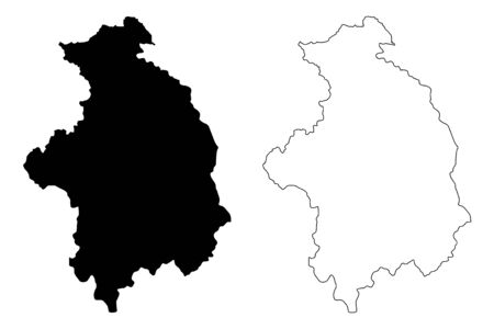 District of Mitrovica (Republic of Kosovo and Metohija, Districts of Kosovo, Republic of Serbia) map vector illustration, scribble sketch Kosovska Mitrovica map