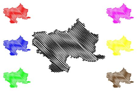 Utena County (Republic of Lithuania, Counties of Lithuania) map vector illustration, scribble sketch Utena map  イラスト・ベクター素材