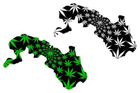 Plateau-Central Region (Regions of Burkina Faso, Burkina Faso) map is designed cannabis leaf green and black, Plateau Central map made of marijuana (marihuana,THC) foliage Ilustração