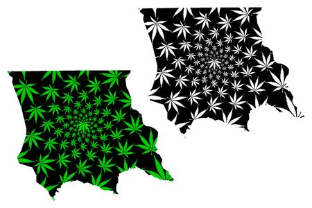 Jambyl Region (Republic of Kazakhstan, Regions of Kazakhstan) map is designed cannabis leaf green and black, Jambyl map made of marijuana (marihuana,THC) foliage