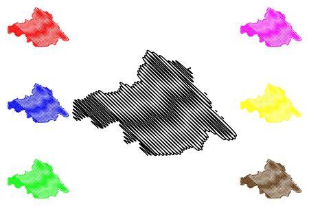 Arkhangai Province (aimags, Provinces of Mongolia) map vector illustration, scribble sketch Arkhangai Aimag map