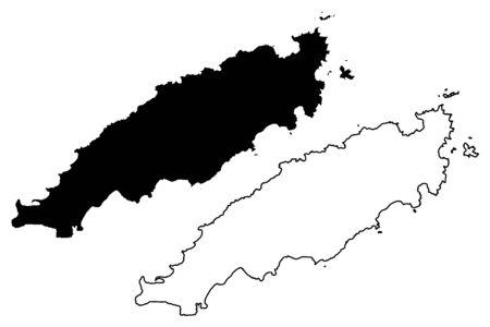 Tobago island (Republic of Trinidad and Tobago) map vector illustration, scribble sketch Tobago (Little Tobago, Goat, Giles Island) map