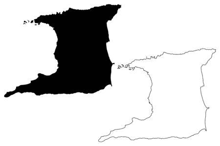 Trinidad island (Republic of Trinidad and Tobago) map vector illustration, scribble sketch Trinidad map