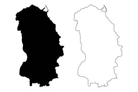 Annobon island (Republic of Equatorial Guinea, Provinces of Equatorial Guinea) map vector illustration, scribble sketch Anabon, Anno Bom and Annabona Province map Ilustrace