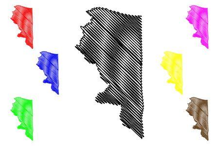 Quebradillas municipality (Commonwealth of Puerto Rico, Porto Rico, PR, Unincorporated territories of the United States) map vector illustration, scribble sketch Quebradillas map Illustration