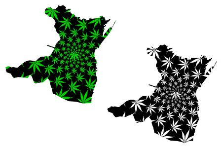 Constanta County (Administrative divisions of Romania, Sud-Est development region) map is designed cannabis leaf green and black, Constanta map made of marijuana (marihuana,THC) foliage