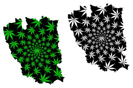 Galati County (Administrative divisions of Romania, Sud-Est development region) map is designed cannabis leaf green and black, Galati map made of marijuana (marihuana,THC) foliage