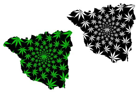 Gorj County (Administrative divisions of Romania, Sud-Vest Oltenia development region) map is designed cannabis leaf green and black, Gorj map made of marijuana (marihuana,THC) foliage