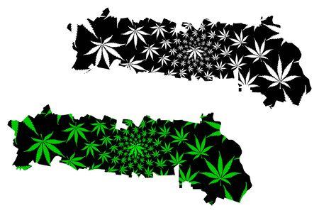 Ialomita County (Administrative divisions of Romania, Sud - Muntenia development region) map is designed cannabis leaf green and black, Ialomita map made of marijuana (marihuana,THC) foliage