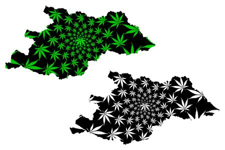 Maramures County (Administrative divisions of Romania, Nord-Vest development region) map is designed cannabis leaf green and black, Maramures map made of marijuana (marihuana,THC) foliage Stock Vector - 138097837