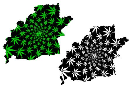 Sibiu County (Administrative divisions of Romania, Centru development region) map is designed cannabis leaf green and black, Sibiu map made of marijuana (marihuana,THC) foliage Stock Illustratie