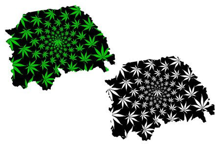 Suceava County (Administrative divisions of Romania, Nord-Est development region) map is designed cannabis leaf green and black, Suceava map made of marijuana (marihuana,THC) foliage