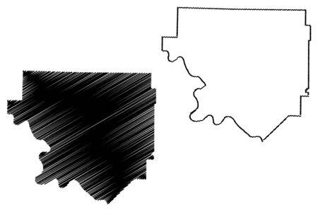 Izard County, Arkansas (U.S. county, United States of America,USA, U.S., US) map vector illustration, scribble sketch Izard map Ilustração