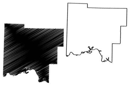 Johnson County, Arkansas (U.S. county, United States of America,USA, U.S., US) map vector illustration, scribble sketch Johnson map