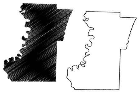 Lafayette County, Arkansas (U.S. county, United States of America,USA, U.S., US) map vector illustration, scribble sketch Lafayette map