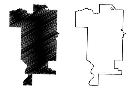 Prairie County, Arkansas (U.S. county, United States of America,USA, U.S., US) map vector illustration, scribble sketch Prairie map