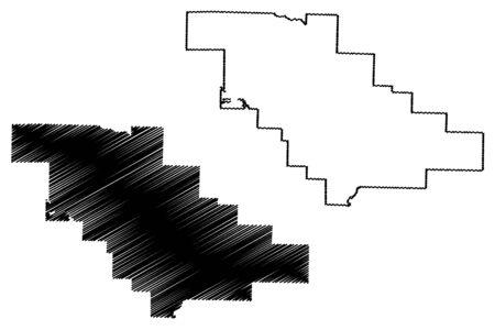 Saline County, Arkansas (U.S. county, United States of America,USA, U.S., US) map vector illustration, scribble sketch Saline map