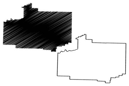 Scott County, Arkansas (U.S. county, United States of America,USA, U.S., US) map vector illustration, scribble sketch Scott map Çizim