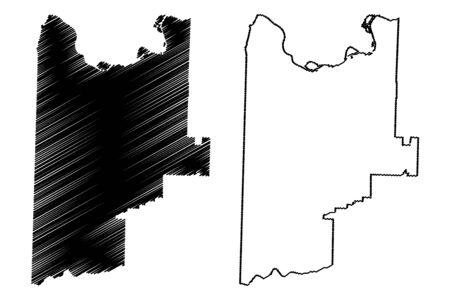 Sebastian County, Arkansas (U.S. county, United States of America,USA, U.S., US) map vector illustration, scribble sketch Sebastian map