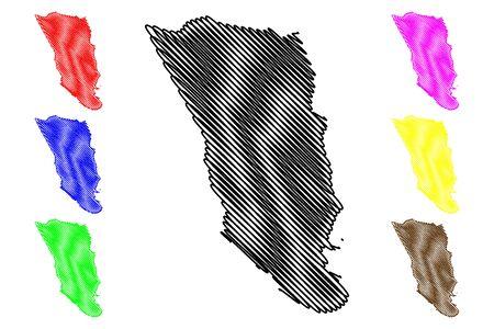 Clarendon Parish (Parishes of Jamaica, Middlesex County) map vector illustration, scribble sketch Clarendon map Ilustração