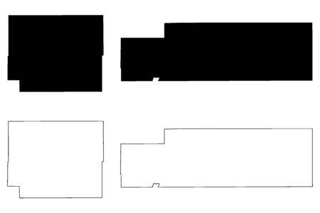 Kiowa and Logan County, Colorado (U.S. county, United States of America,USA, U.S., US) map vector illustration, scribble sketch Kiowa and Logan map