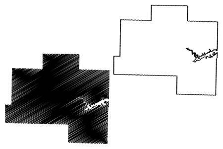 Van Buren County, Arkansas (U.S. county, United States of America,USA, U.S., US) map vector illustration, scribble sketch Van Buren map