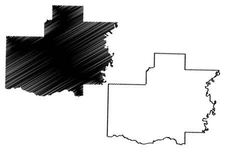 White County, Arkansas (U.S. county, United States of America,USA, U.S., US) map vector illustration, scribble sketch White map Illusztráció