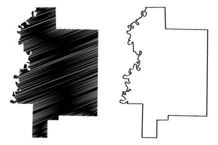 Woodruff County, Arkansas (U.S. county, United States of America,USA, U.S., US) map vector illustration, scribble sketch Woodruff map