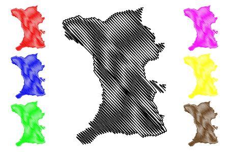 Shirak Province (Republic of Armenia, Administrative divisions of Armenia) map vector illustration, scribble sketch Shirak map