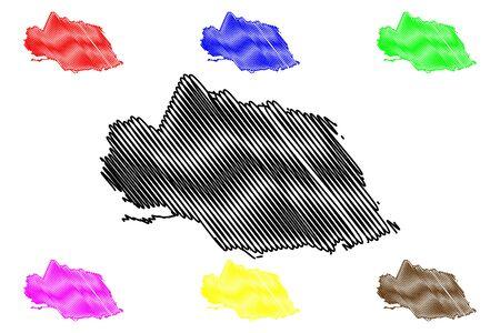 Surrey County (Counties of Jamaica) map vector illustration, scribble sketch Surrey map Illusztráció