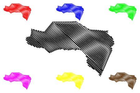 Westmoreland Parish (Parishes of Jamaica, Cornwall County) map vector illustration, scribble sketch Westmoreland map