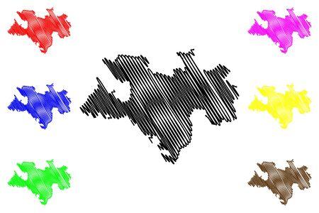 Briceni District (Republic of Moldova, Administrative divisions of Moldova) map vector illustration, scribble sketch Briceni map