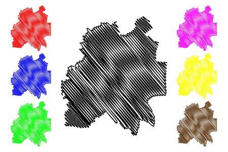 Cantemir District (Republic of Moldova, Administrative divisions of Moldova) map vector illustration, scribble sketch Cantemir map Illusztráció