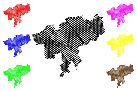 Causeni District (Republic of Moldova, Administrative divisions of Moldova) map vector illustration, scribble sketch Causeni map Illusztráció
