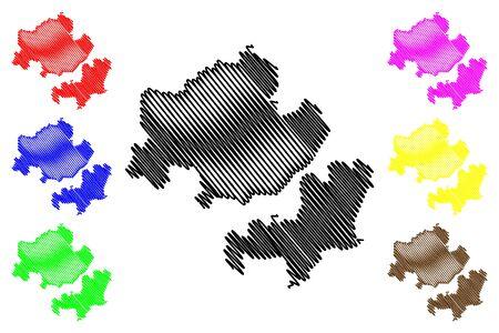 Criuleni District (Republic of Moldova, Administrative divisions of Moldova) map vector illustration, scribble sketch Criuleni map Illusztráció