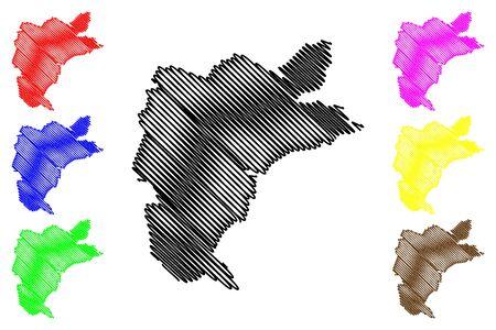 Donduseni District (Republic of Moldova, Administrative divisions of Moldova) map vector illustration, scribble sketch Donduseni map