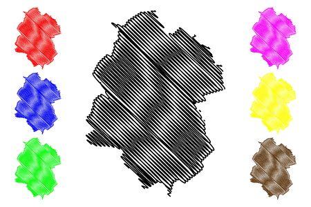 Drochia District (Republic of Moldova, Administrative divisions of Moldova) map vector illustration, scribble sketch Drochia map Illusztráció