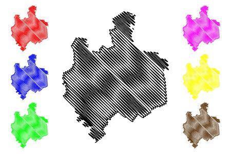 Edinet District (Republic of Moldova, Administrative divisions of Moldova) map vector illustration, scribble sketch Edinet map